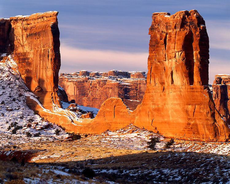 Winter scene at Park Avenue; Arches National Park, UT