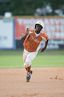 Josh Crump (1) of the Asheboro Copperheads hustles towards third base against the High Point-Thomasville HiToms at Finch Field on June 12, 2015 in Thomasville, North Carolina.  The HiToms defeated the Copperheads 12-3. (Brian Westerholt/Four Seam Images)