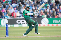 Shakib Al Hasan (Bangladesh) aroids playing a short quick delivery from Mark Wood during England vs Bangladesh, ICC World Cup Cricket at Sophia Gardens Cardiff on 8th June 2019