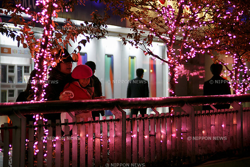 People admire the illuminations at Shinjuku Terrace City on November 16, 2017, Tokyo, Japan. Shinjuku Terrace City Illuminations are seen around Odakyu Line Shinjuku Station. This year marks the 12th year of the illumination event, which can be enjoyed until February 22, 2018. (Photo by Rodrigo Reyes Marin/AFLO)