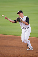 Kannapolis Intimidators second baseman Zachary Voight (8) makes a throw to first base against the Hickory Crawdads at CMC-Northeast Stadium on May 18, 2014 in Kannapolis, North Carolina.  The Intimidators defeated the Crawdads 6-5 in 10 innings.  (Brian Westerholt/Four Seam Images)