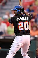 Buffalo Bisons outfielder Jorge Padilla during a game vs. the Lehigh Valley IronPigs at Coca-Cola Field in Buffalo, New York;  August 1, 2010.  Buffalo defeated Lehigh Valley 2-1 in 10 innings.  Photo By Mike Janes/Four Seam Images