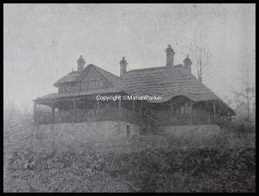 BNPS.co.uk (01202 558833)<br /> Pic: MarianParker/BNPS<br /> <br /> Early photograph.<br /> <br /> Colonial time capsule - Yours for &pound;1 million.<br /> <br /> The finest original bungalow that remains from Victorian time's is for sale - with a lot more style &amp; grandeur than its hum-drum modern descendents.<br /> <br /> Pleasaunce Cottage in East Grinsted has been meticulously maintained over decades to keep much of its original charm with authentic wood panelling and stained glass windows.<br /> <br /> It is said to be the finest example of a colonial India-style bungalow that exists in this country today and features on the Society for the Protection of Ancient Buildings (SPAB) property list.