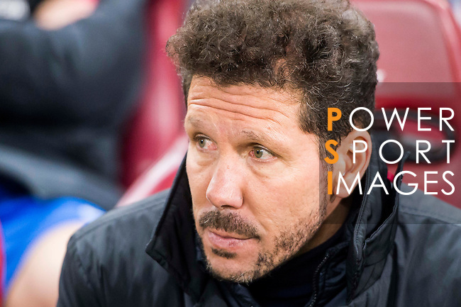 Coach Diego Simeone of Atletico de Madrid looks on during their Copa del Rey 2016-17 Round of 16 match between Atletico de Madrid and UD Las Palmas at the Vicente Calderón Stadium on 10 January 2017 in Madrid, Spain. Photo by Diego Gonzalez Souto / Power Sport Images
