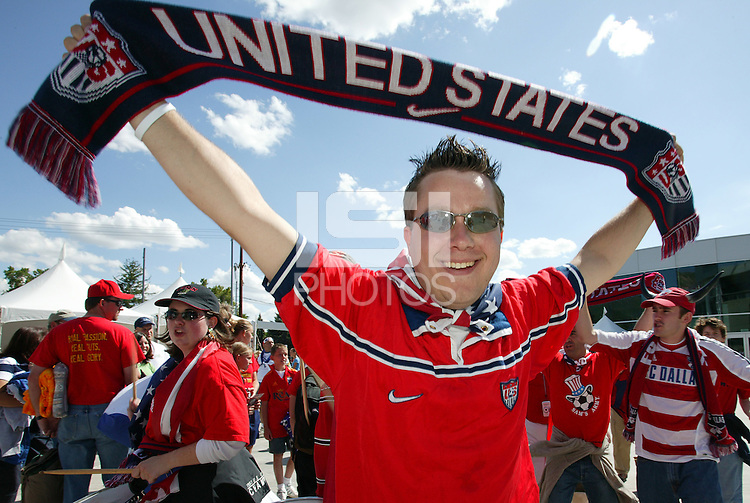 A Us soccer fan shows off his team pride before the start of the game.U.S.A. defeated Costa Rica 3 - 0 in final round World Cup qualifying at Rice-Eccles Stadium, Salt Lake City, UT, on June 4, 2005.