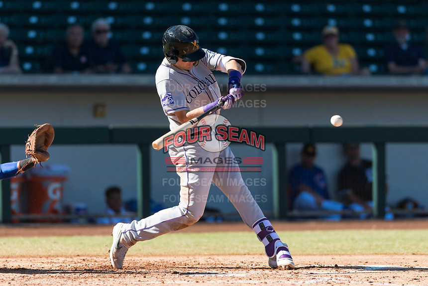 Salt River Rafters first baseman Tyler Nevin (2), of the Colorado Rockies organization, swings at a pitch during an Arizona Fall League game against the Mesa Solar Sox at Sloan Park on October 30, 2018 in Mesa, Arizona. Salt River defeated Mesa 14-4 . (Zachary Lucy/Four Seam Images)