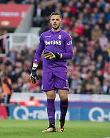 Goalkeeper Jack Butland of Stoke City during the Premier League match between Stoke City and Manchester United at the Britannia Stadium, Stoke-on-Trent, England on 9 September 2017. Photo by Andy Rowland.