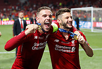 Jordan Henderson of Liverpool and Adam Lallana of Liverpool celebrate after the UEFA Champions League Final match between Tottenham Hotspur and Liverpool at Wanda Metropolitano on June 1st 2019 in Madrid, Spain. (Photo by Daniel Chesterton/phcimages.com)<br /> Foto Daniel Chesterton PHC/ Insidefoto <br /> ITALY ONLY