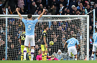 2nd November 2019; Etihad Stadium, Manchester, Lancashire, England; English Premier League Football, Manchester City versus Southampton; Sergio Aguero of Manchester City beats Alex McCarthy of Southampton to score his team's equalising goal for 1-1 in the 70th minute - Strictly Editorial Use Only. No use with unauthorized audio, video, data, fixture lists, club/league logos or 'live' services. Online in-match use limited to 120 images, no video emulation. No use in betting, games or single club/league/player publications