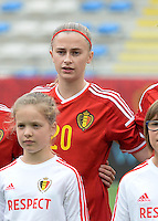 20150523 - SINT-TRUIDEN ,  BELGIUM : Belgian Julie Biesmans pictured during the friendly soccer game between the Belgian Red Flames and Norway, a preparation game for Norway for the Women's 2015 World Cup, Saturday 23 May 2015 at Staaien in Sint-Truiden , Belgium. PHOTO DAVID CATRY