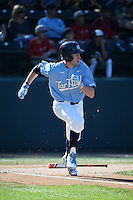 Brian Miller (5) of the North Carolina Tar Heels runs to first base during a game against the UCLA Bruins at Jackie Robinson Stadium on February 20, 2016 in Los Angeles, California. UCLA defeated North Carolina, 6-5. (Larry Goren/Four Seam Images)