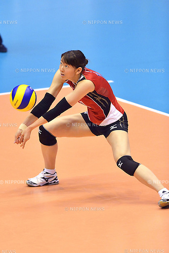 Yukiko Ebata (JPN),<br /> AUGUST 18, 2013 - Volleyball :<br /> 2013 FIVB World Grand Prix, Preliminary Round Week 3 Pool M match Japan 3-2 Czech Republic at Sendai Gymnasium in Sendai, Miyagi, Japan. (Photo by Ryu Makino/AFLO)