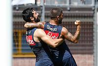 Raul Albiol  e  Lorenzo Insigne <br /> ritiro precampionato Napoli Calcio a  Dimaro 18 Luglio 2015<br /> <br /> Preseason summer training of Italy soccer team  SSC Napoli  in Dimaro Italy July 18, 2015