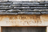 "Vineyard. Domaine Thenard. ""Le Montrachet"" Grand Cru, Puligny Montrachet, Cote de Beaune, d'Or, Burgundy, France"