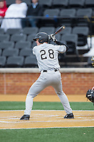 Drake Zupcic (28) of the Appalachian State Mountaineers at bat against the Wake Forest Demon Deacons at Wake Forest Baseball Park on February 13, 2015 in Winston-Salem, North Carolina.  The Mountaineers defeated the Demon Deacons 10-1.  (Brian Westerholt/Four Seam Images)