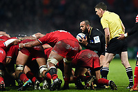 Kahn Fotuali'i of Bath Rugby looks to put the ball into a scrum. Heineken Champions Cup match, between Stade Toulousain and Bath Rugby on January 20, 2019 at the Stade Ernest Wallon in Toulouse, France. Photo by: Patrick Khachfe / Onside Images