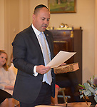 Australian Treasurer Josh Frydenberg takes the oath at Government House, Canberra, Wednesday May 29, 2019. AFP PHOTO/ MARK GRAHAM