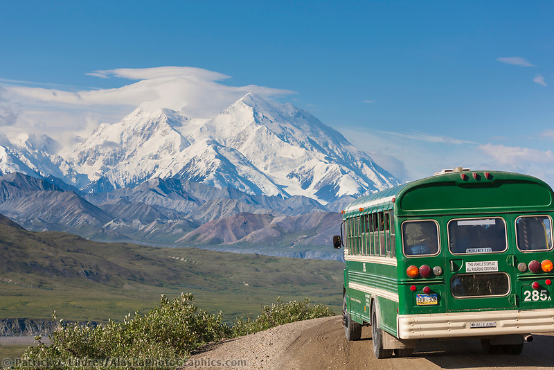Tour bus along the Denali Park road view Denali visible in the distance, near Eielson Visitors Center, Denali National Park, Interior, Alaska.