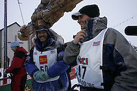 Bjorn Anderson arrives into Nome in 4th place as rookie of the year.    End of the  2005 Iditarod Trail Sled Dog Race.