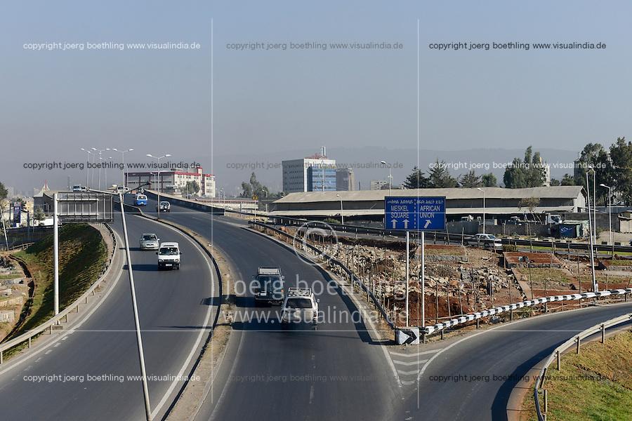 ETHIOPIA, Addis Ababa, road to African Union building / AETHIOPIEN, Addis Abeba, Strasse zum Gebaeude der Afrikanischen Union