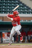 Palm Beach Cardinals second baseman Mason Katz (8) at bat during a game against the Lakeland Flying Tigers on April 16, 2015 at Joker Marchant Stadium in Lakeland, Florida.  Palm Beach defeated Lakeland 7-1.  (Mike Janes/Four Seam Images)
