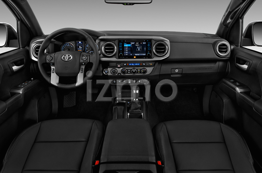 Stock photo of straight dashboard view of a 2018 Toyota Tacoma TRD Sport Double Cab 4 Door Pick Up
