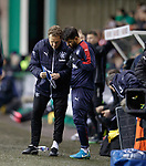 Jonatan Johansson instructs Daniel Candeias as Kenny Miller is being taken off