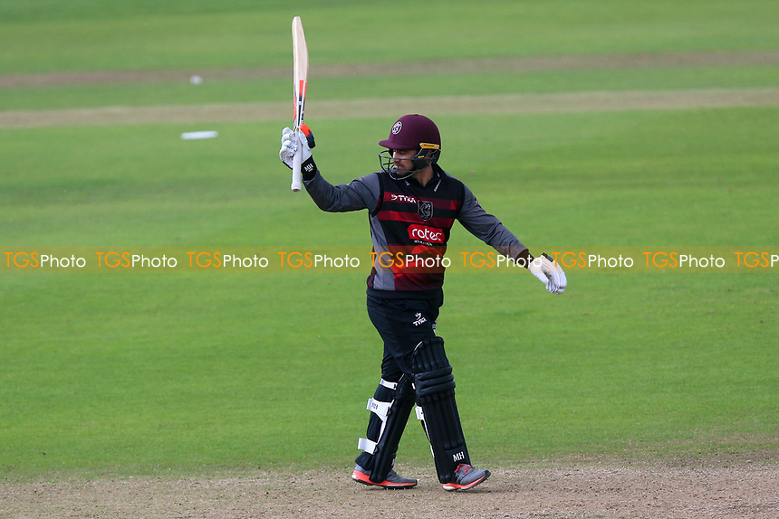 Johann Myburgh of Somerset celebrates scoring a half-century, 50 runs during Somerset vs Essex Eagles, Royal London One-Day Cup Cricket at The Cooper Associates County Ground on 14th May 2017