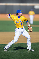 Delaware Blue Hens third baseman Diaz Nardo (27) makes a throw to first base against the Georgetown Hoyas at Wake Forest Baseball Park on February 13, 2015 in Winston-Salem, North Carolina.  The Blue Hens defeated the Hoyas 3-0.  (Brian Westerholt/Four Seam Images)