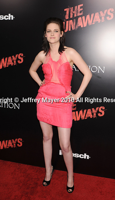 HOLLYWOOD, CA. - March 11: Actress Kristen Stewart arrives at the Los Angeles Premiere of The Runaways at ArcLight Cinemas Cinerama Dome on March 11, 2010 in Hollywood, California.