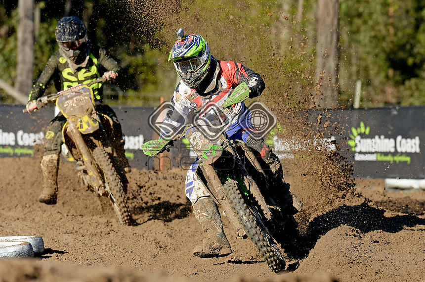 Takeshi Katsuya / Kawasaki<br /> MX Nationals / Round 6 / MX2<br /> Australian Motocross Championships<br /> Raymond Terrace NSW<br /> Sunday 5 July 2015<br /> &copy; Sport the library / Jeff Crow