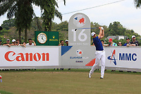 Henrik Stenson (Europe) on the 16th tee during the Singles Matches of the Eurasia Cup at Glenmarie Golf and Country Club on the Sunday 14th January 2018.<br /> Picture:  Thos Caffrey / www.golffile.ie