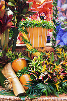 A Pahu (drum), flora and an Ipu Heke on a float at the Aloha Festivities Parade in Honolulu