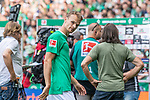 01.09.2019, wohninvest WESERSTADION, Bremen, GER, 1.FBL, Werder Bremen vs FC Augsburg<br /> <br /> DFL REGULATIONS PROHIBIT ANY USE OF PHOTOGRAPHS AS IMAGE SEQUENCES AND/OR QUASI-VIDEO.<br /> <br /> im Bild / picture shows<br /> Christian Groß / Gross (Werder Bremen #36) nach Spielende, <br /> <br /> Foto © nordphoto / Ewert