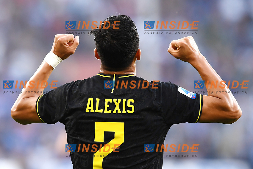 Alexis Sanchez of FC Internazionale celebrates after scoring the goal of 0-2 for his side <br /> Genova 28-09-2019 Stadio Luigi Ferraris Football Serie A 2018/2019 Sampdoria - FC Internazionale  <br /> Photo Image Sport / Insidefoto
