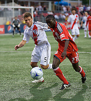 22 July 2009: Argentina's River Plate player Nicolas Domingo #5 and Toronto FC midfielder Gabe Gala #27 in action during the International friendly between Toronto FC and Argentina's River Plate at BMO Field. The game ended in a 0-0 tie and River Plate won 4-3 in penalty kicks..
