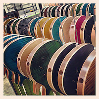 Guitars sit painted and ready for their top coat at the Paul Reed Smith factory in Stevensville, Maryland on March 20, 2013.