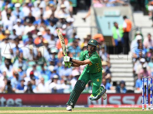 June 18th 2017, The Kia Oval, London, England;  ICC Champions Trophy Cricket Final; India versus Pakistan; Fakhar Zaman of Pakistan hits a six
