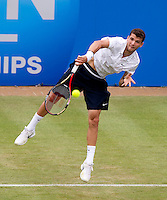 Grigor Dimitrov (BUL) against Feliciano Lopez (ESP) in the second round of the men's singles. Feliciano Lopez beat Grigor Dimitrov 6-2 6-4..Tennis - ATP World Tour - AEGON Championships - Queen's Club - London - Day 3 - Wed 09 Jun 2010..© AMN Images - Level 1, Barry House, 20-22 Worple Road, London, SW19 4DH.Tel - +44 (0) 208 947 0100.email - mfrey@advantagemedianet.com. www.photoshelter.com/c/amnimages.