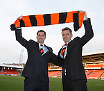 Jackie McNamara and his assistant Simon Donnelly at Dundee Utd