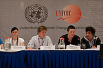 Britta Börnicke, Jacob Klein, Fabian Beusch, Nicolas Gomez, the students of Gymnasium Marienschule hold a press conference where they presented the first money to the Adaptation Fund at the UNFCCC talks in Bonn.