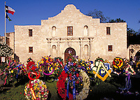 COMMEMORATIVE WREATHS AT THE ALAMO AT FIESTA. SAN ANTONIO TEXAS.