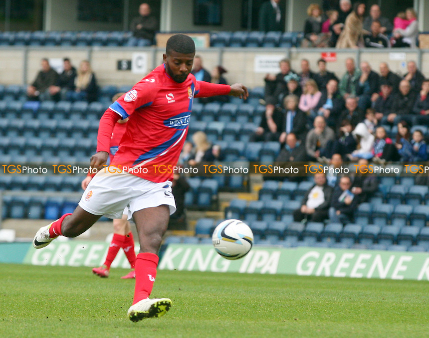 Medy Elito of Dagenham and Redbridge gets in a shot - Wycombe Wanderers vs Dagenham and Redbridge, Sky Bet League Two Football at the Adams Park Stadium - 05/04/14 - MANDATORY CREDIT: Dave Simpson/TGSPHOTO - Self billing applies where appropriate - 0845 094 6026 - contact@tgsphoto.co.uk - NO UNPAID USE