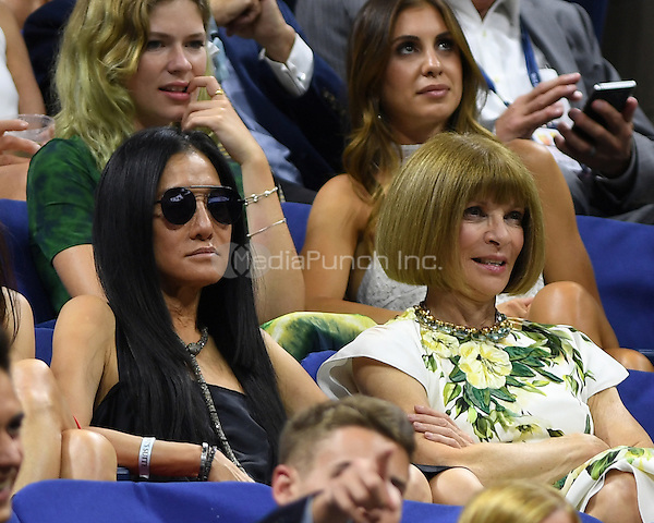 FLUSHING NY- AUGUST 29: Vera Wang and Anna Wintour are seen during opening night ceremony on Arthur Ashe Stadium at the USTA Billie Jean King National Tennis Center on August 29, 2016 in Flushing Queens. Credit: mpi04/MediaPunch