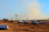 Apr 17, 2011; Surprise, AZ USA; LOORRS driver Brian Deegan (38) leads the field as a dust storm passes during round 4 at Speedworld Off Road Park. Mandatory Credit: Mark J. Rebilas-