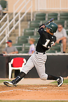 Carlos Guzman (13) of the Savannah Sand Gnats follows through on his swing at Fieldcrest Cannon Stadium in Kannapolis, NC, Sunday July 20, 2008. (Photo by Brian Westerholt / Four Seam Images)