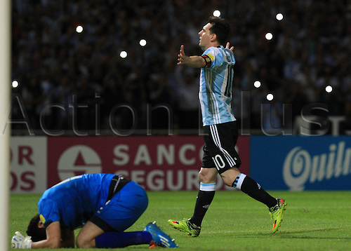 30.03.2016. Cordoba, Argentina.  Argentinas Lionel Messi (R) celebrates after scoring during the qualifying match for 2018 Russia World Cup against Bolivia at Mario Alberto Kempes Stadium in Cordoba, Argentina, on March 29, 2016. Argentina won 2-0.