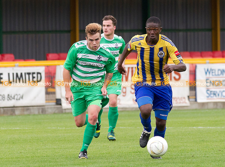 Abs Seymour of Romford heads towards goal  - Romford vs Waltham Abbey - Ryman League Division One North Football at Thurrock FC, Ship Lane, Essex - 17/08/13 - MANDATORY CREDIT: Ray Lawrence/TGSPHOTO - Self billing applies where appropriate - 0845 094 6026 - contact@tgsphoto.co.uk - NO UNPAID USE