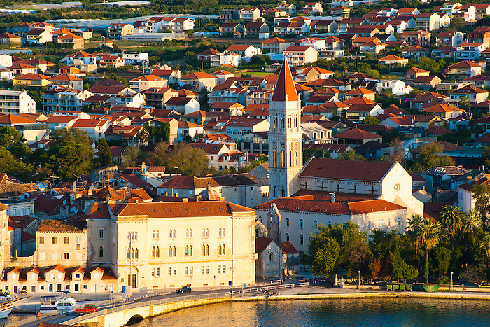 Photo of the Cathedral of St Lawrence (Katedrala Sv. Lovre) at sunrise, Trogir, Dalmatian Coast, Croatia, Europe. This photo shows the Cathedral of St Lawrence (Katedrala Sv. Lovre) in the Historic City of Trogir at sunrise. The best views of Trogir and the Cathedral of St Lawrence are from the top of the hill on Ciovo Island.