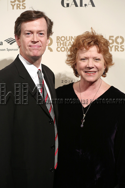 Dylan Baker and Becky Anne Baker attends the Roundabout Theatre Company's  50th Anniversary Gala at The Waldorf-Astoria on February 29, 2016 in New York City.